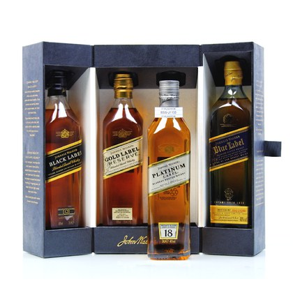 Johnnie Walker Collection beinhaltet Black Label 12 y.o., Gold Label, Platinum Label 18 y.o. & Blue Label je 0,20l 0,80 Liter/ 40.00% Vol