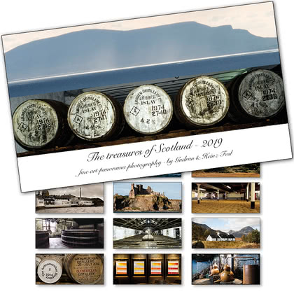 Heinz Fesl Panorama-Tischkalender 2019 The treasures of Scotland in Kunststoff-Klappbox 1Stück Produktbild