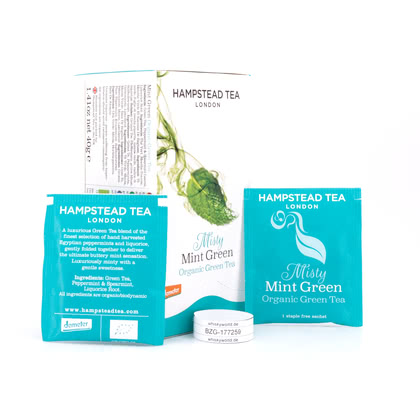 Hampstead Tea BIO Organic Misty Mint Green Tea 20 Teebeutel 40Gramm Produktbild