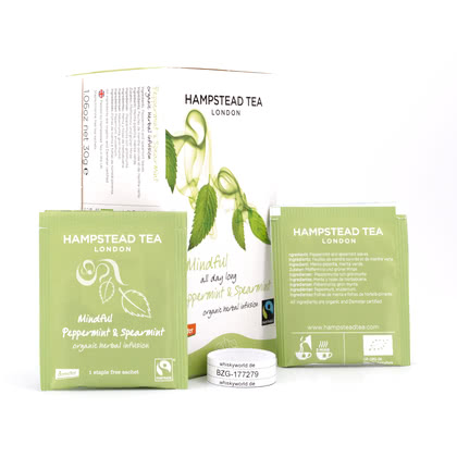 Hampstead Tea Mindful all day long Peppermint Spearmint 20 Teebeutel 30Gramm Produktbild