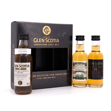 Glen Scotia The Tasting Collection Miniaturset besteht aus Double Cask 46%Vol.; Victorians 51,5%Vol. & 15 Jahre 46%Vol. 47.83% 0,150l Produktbild