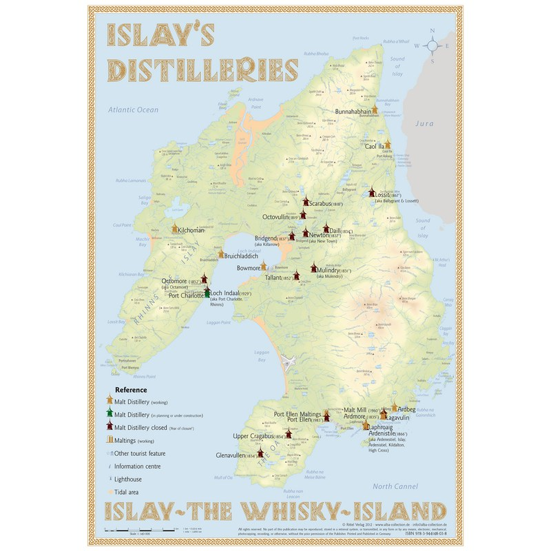 Whisky Karte Schottland.Alba Collection Verlag Poster Islay
